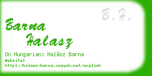 barna halasz business card